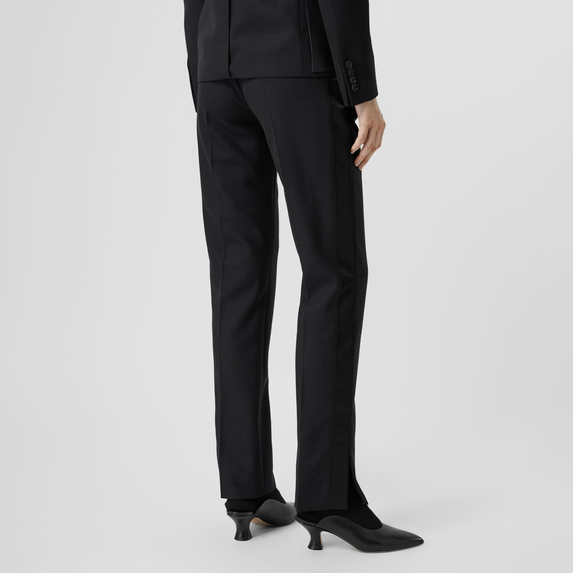 Satin Stripe Detail Wool Tailored Trousers in Black - Women | Burberry United Kingdom - gallery image 2