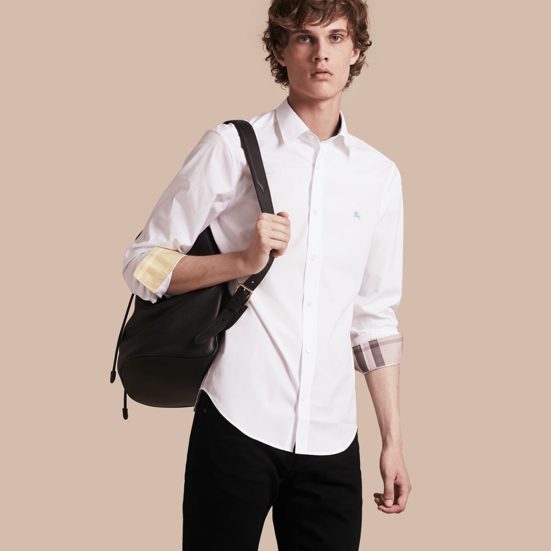 Check Detail Stretch Cotton Shirt in White - gallery image 1