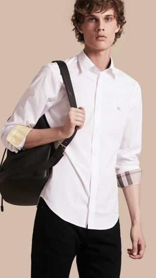 Check Detail Stretch Cotton Shirt