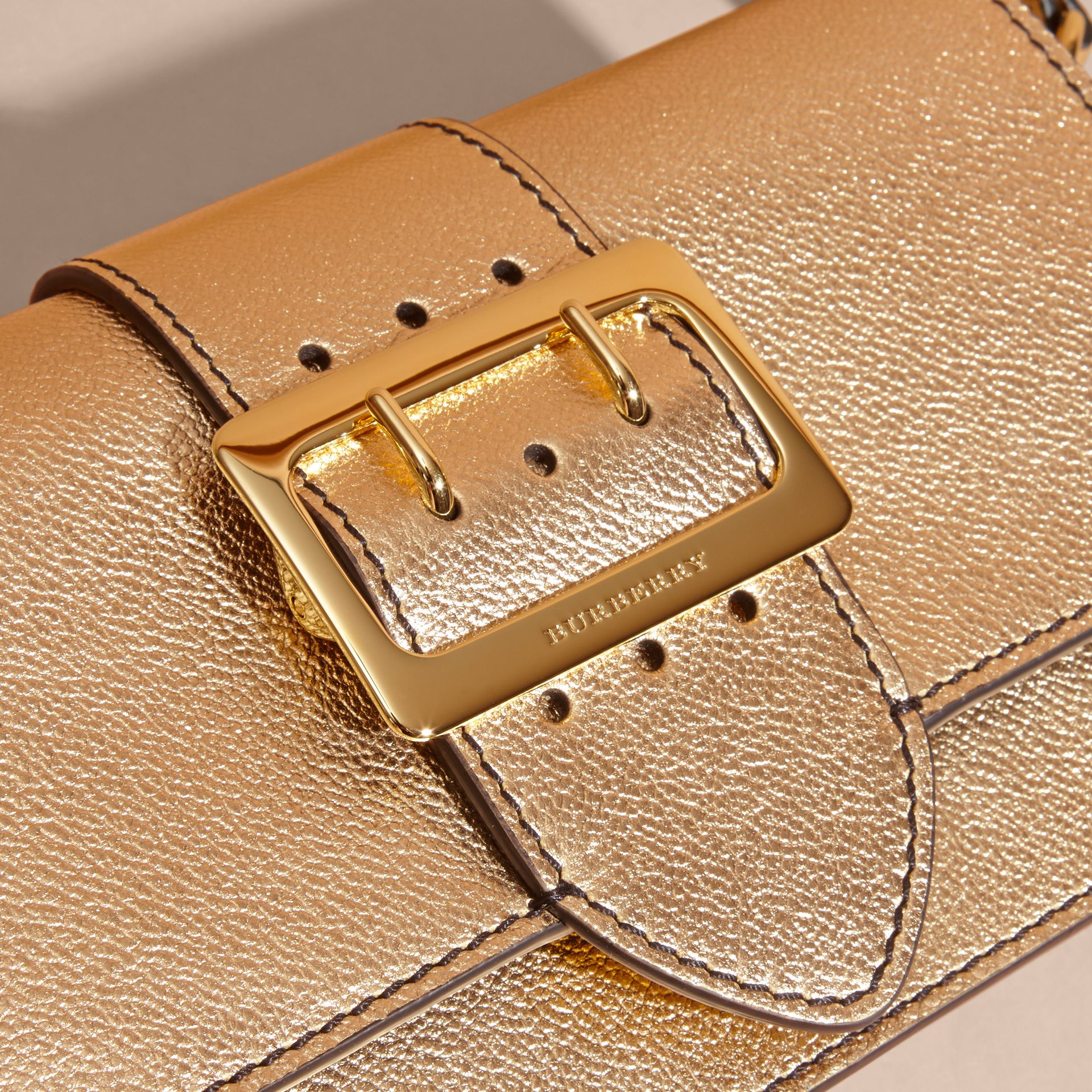 Gold The Medium Buckle Bag in Metallic Leather - gallery image 2