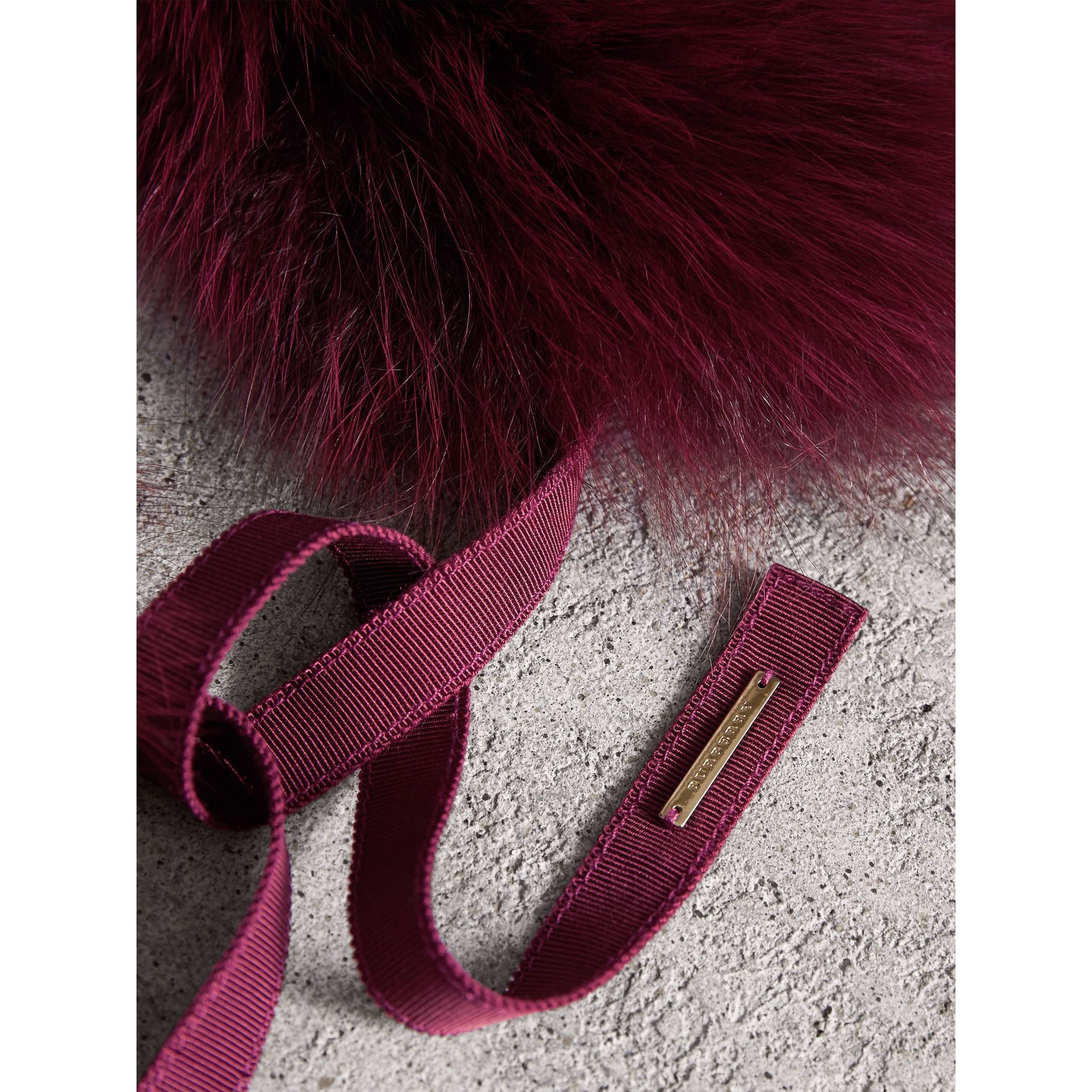 Fox Fur Collar with Check Cashmere Lining in Plum - Women | Burberry - gallery image 2