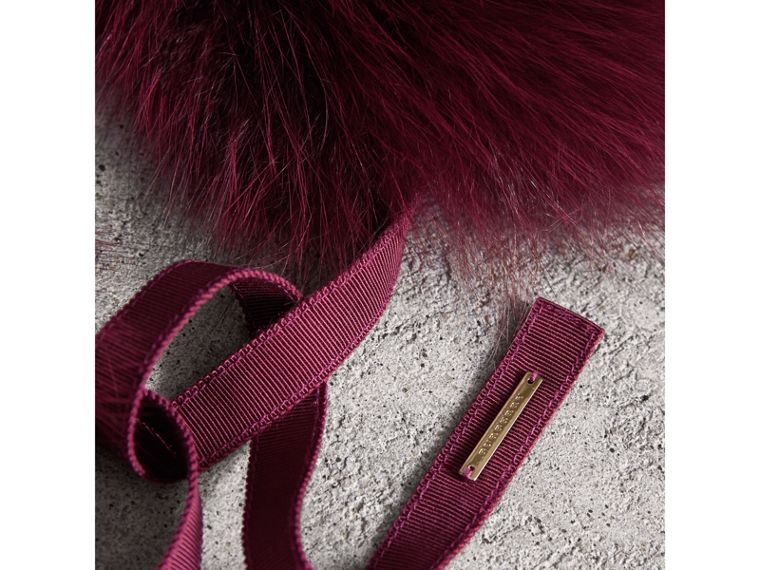 Fox Fur Collar with Check Cashmere Lining in Plum - Women | Burberry - cell image 1