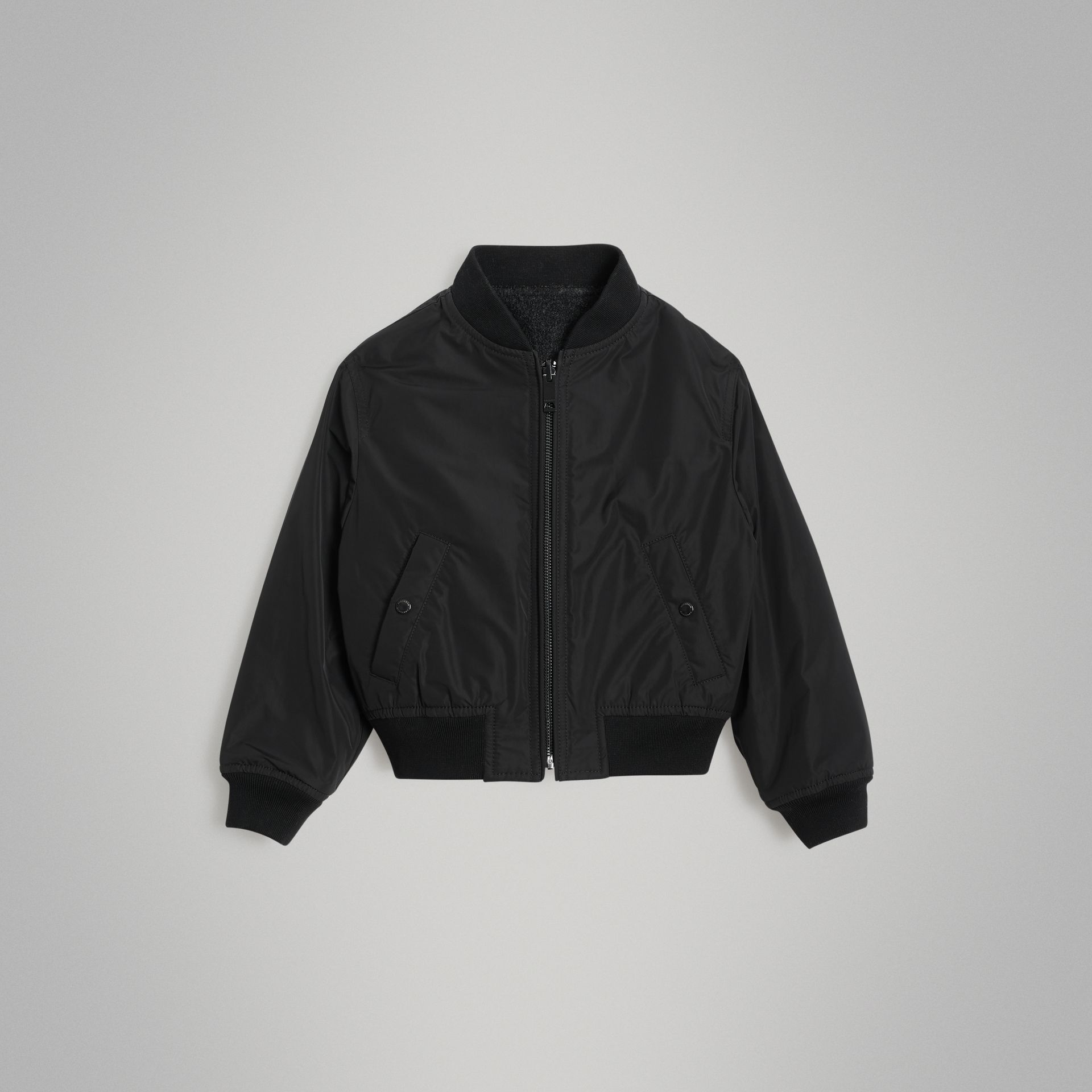 Logo Print Shape-memory Taffeta Bomber Jacket in Dark Grey | Burberry - gallery image 0