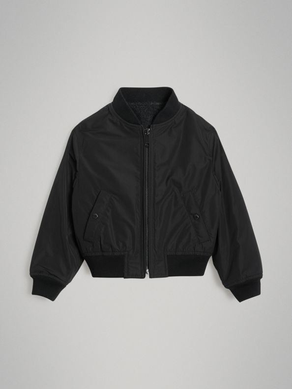 Logo Print Shape-memory Taffeta Bomber Jacket in Dark Grey