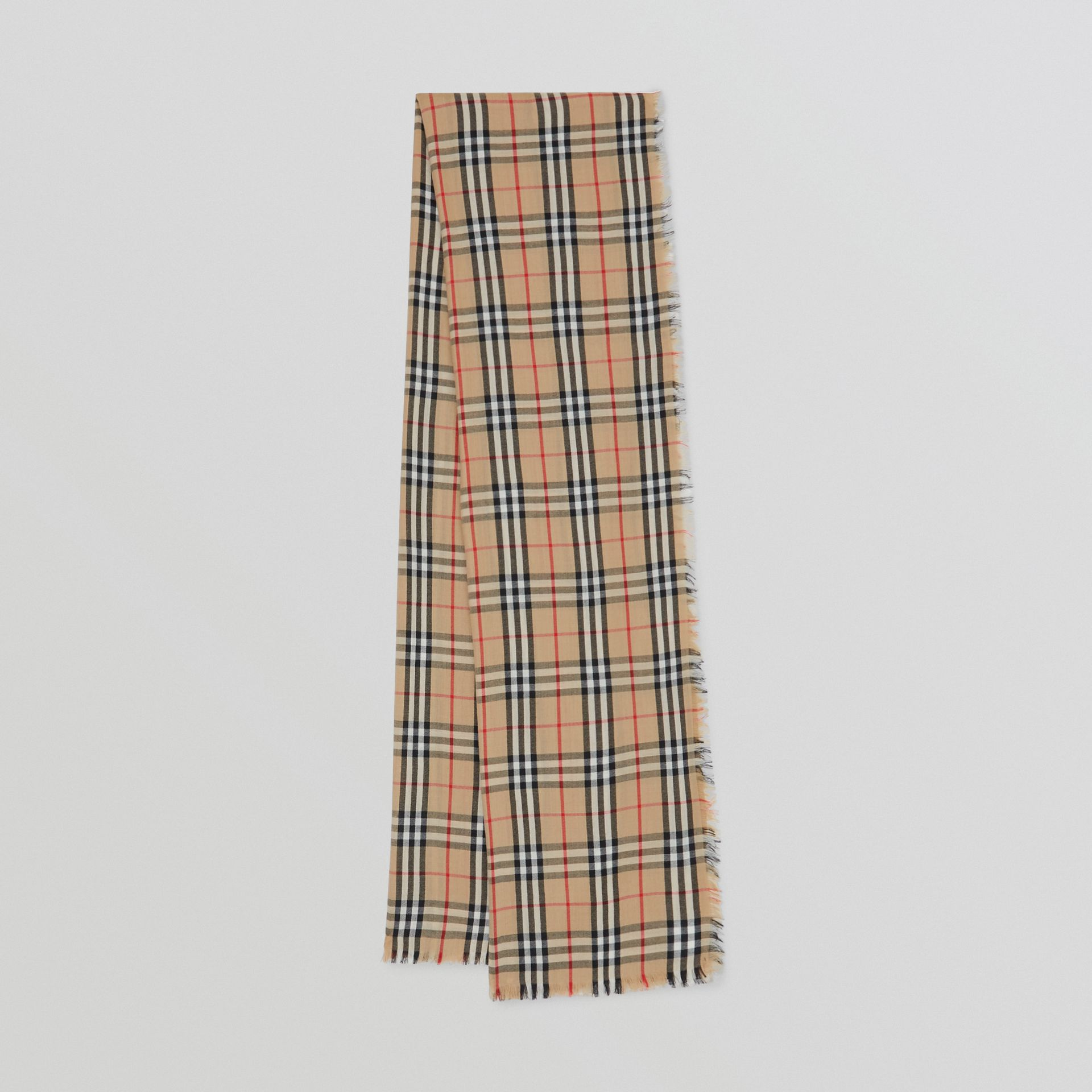 Vintage Check Lightweight Cashmere Scarf in Archive Beige | Burberry - gallery image 0