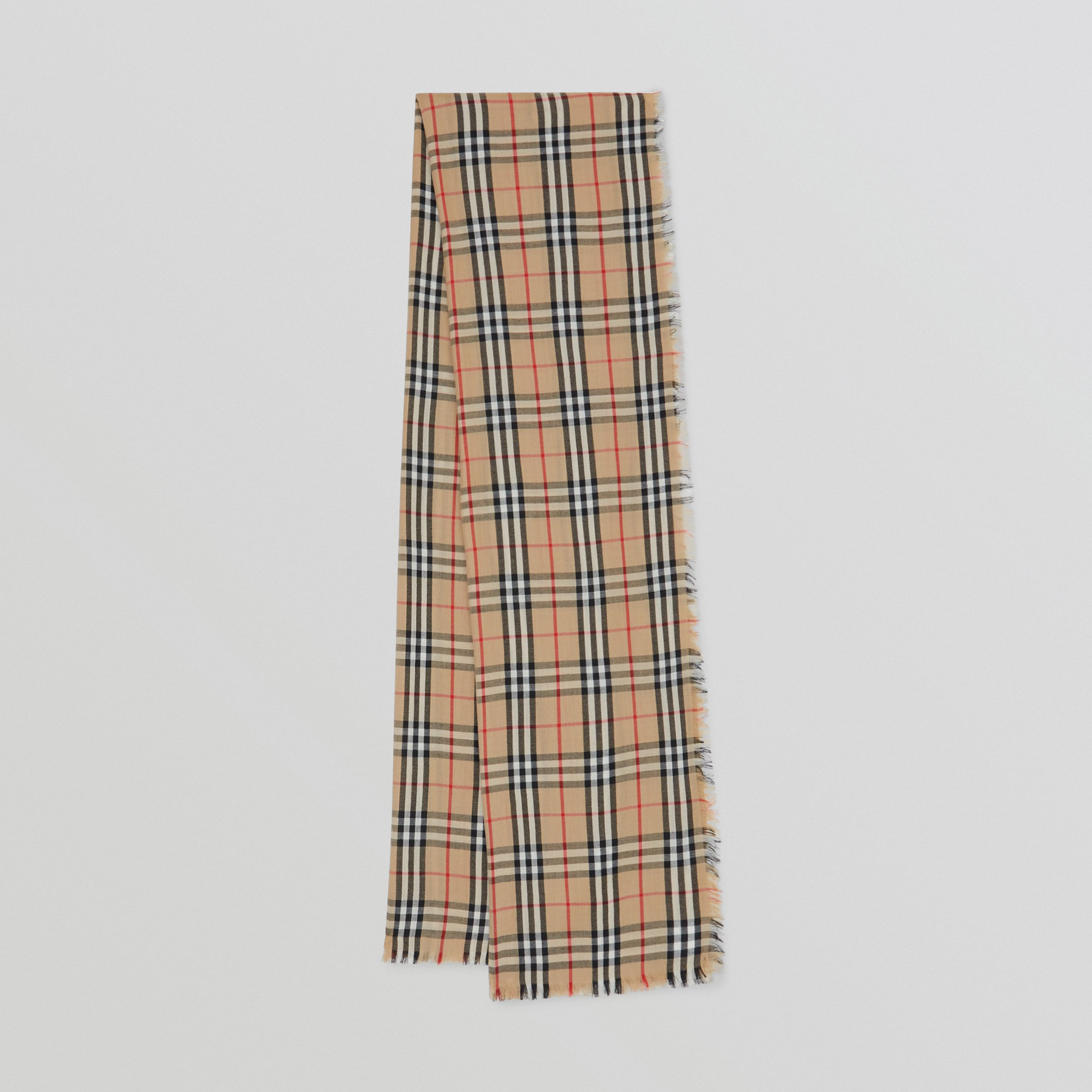Vintage Check Lightweight Cashmere Scarf in Archive Beige | Burberry - 1