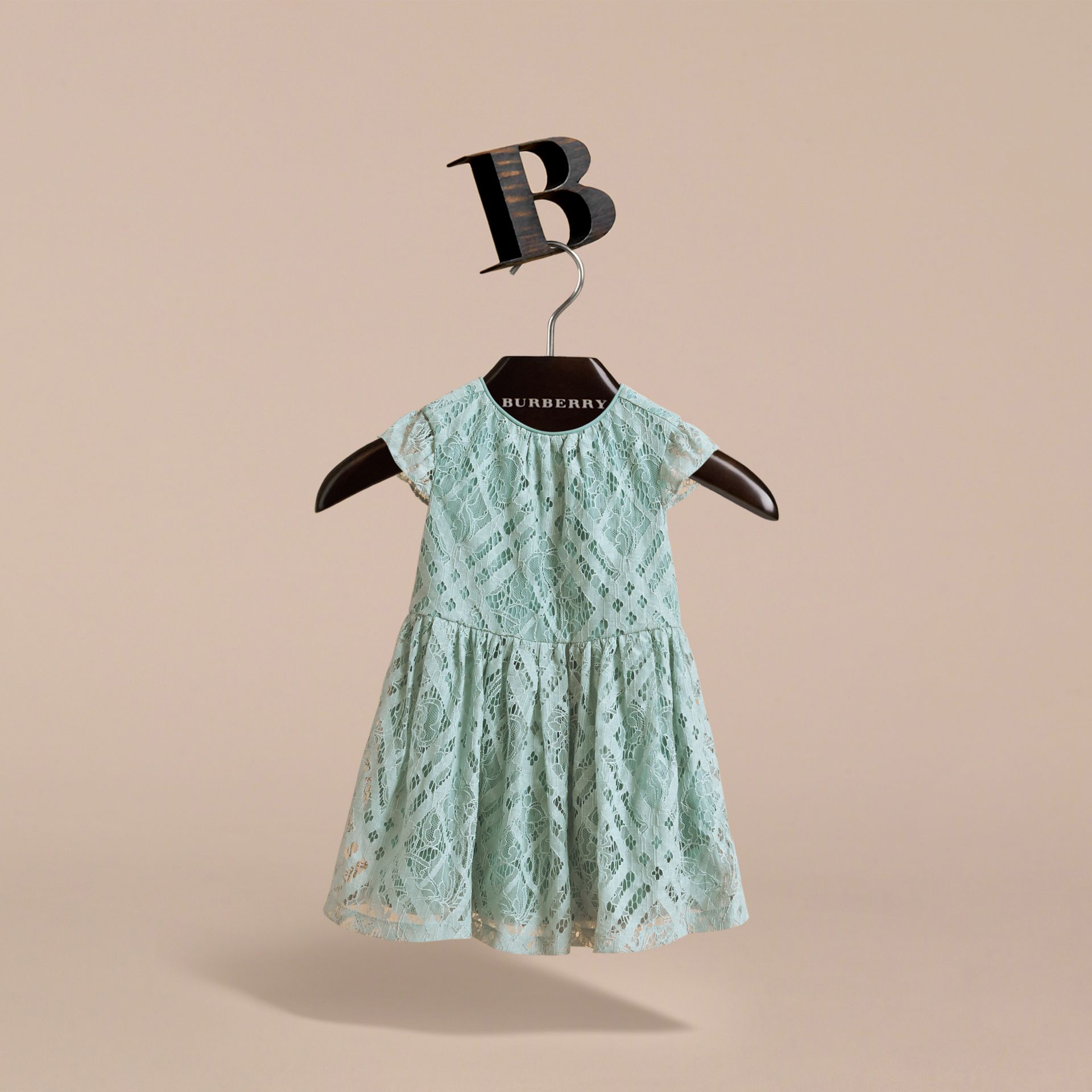 Cap-sleeve Check Lace Dress in Pale Slate Blue | Burberry - gallery image 3