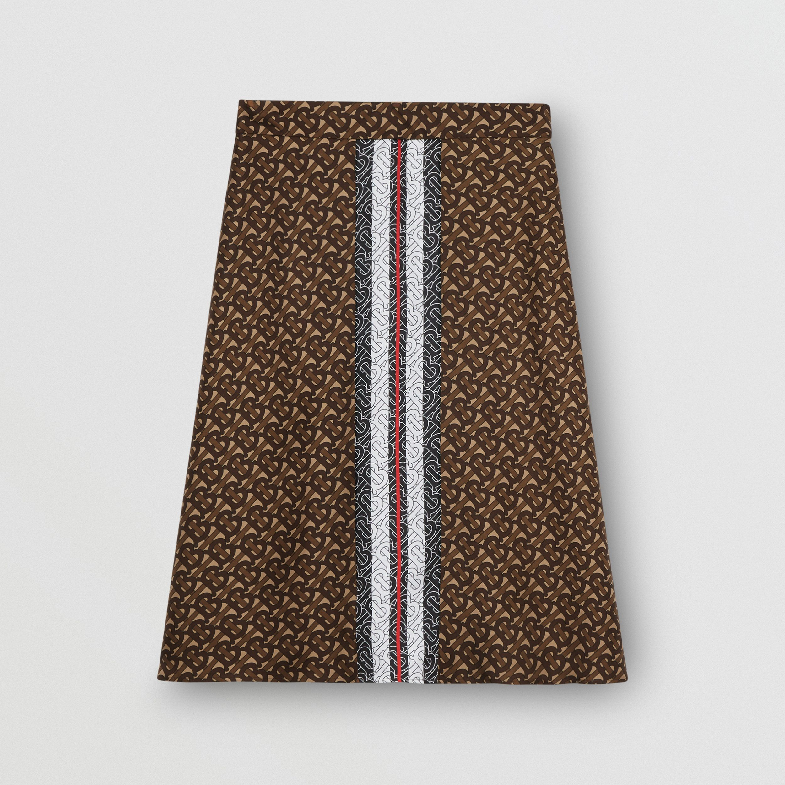 Monogram Stripe Print Silk Skirt in Bridle Brown - Women | Burberry - 4