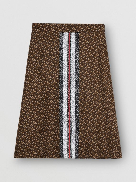 Monogram Stripe Print Silk Skirt in Bridle Brown