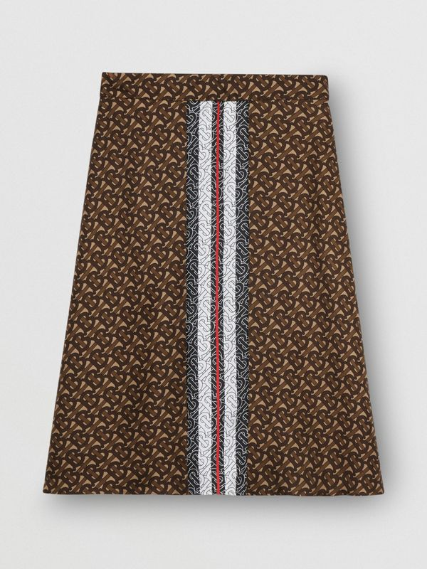Monogram Stripe Print Silk Skirt in Bridle Brown - Women | Burberry United Kingdom - cell image 3