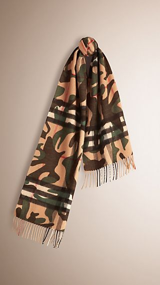 Camouflage Print Check Cashmere Scarf