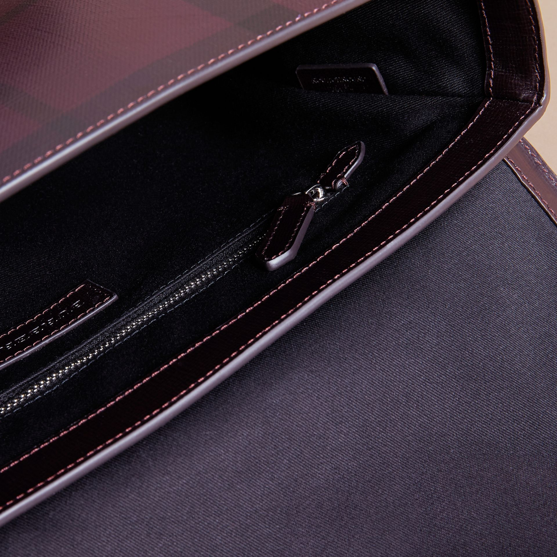 Medium Leather Trim London Check Messenger Bag in Deep Claret - Men | Burberry - gallery image 5