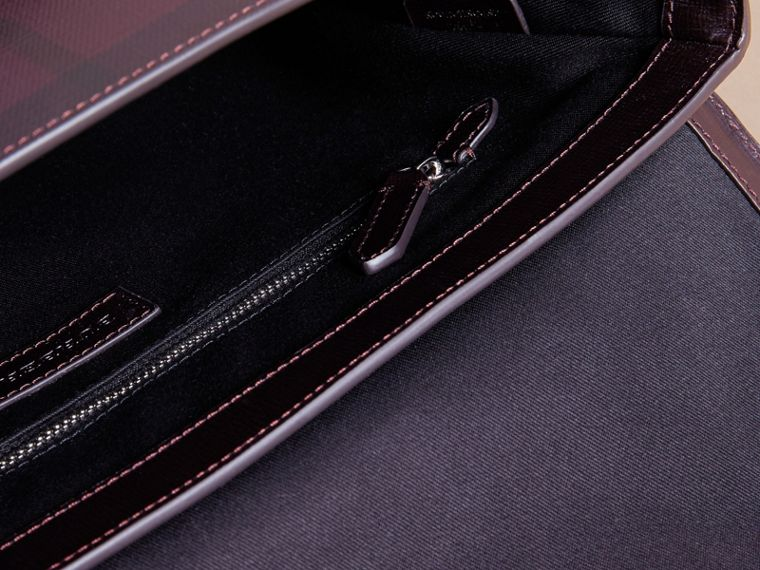 Medium Leather Trim London Check Messenger Bag in Deep Claret - Men | Burberry - cell image 4