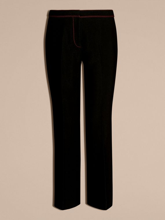 Black Python Print Trim Cropped Tailored Trousers - cell image 3