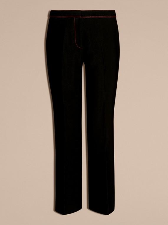 Schwarz Schmal geschnittene Hose mit kürzerer Beinlänge und Pythonmuster - cell image 3