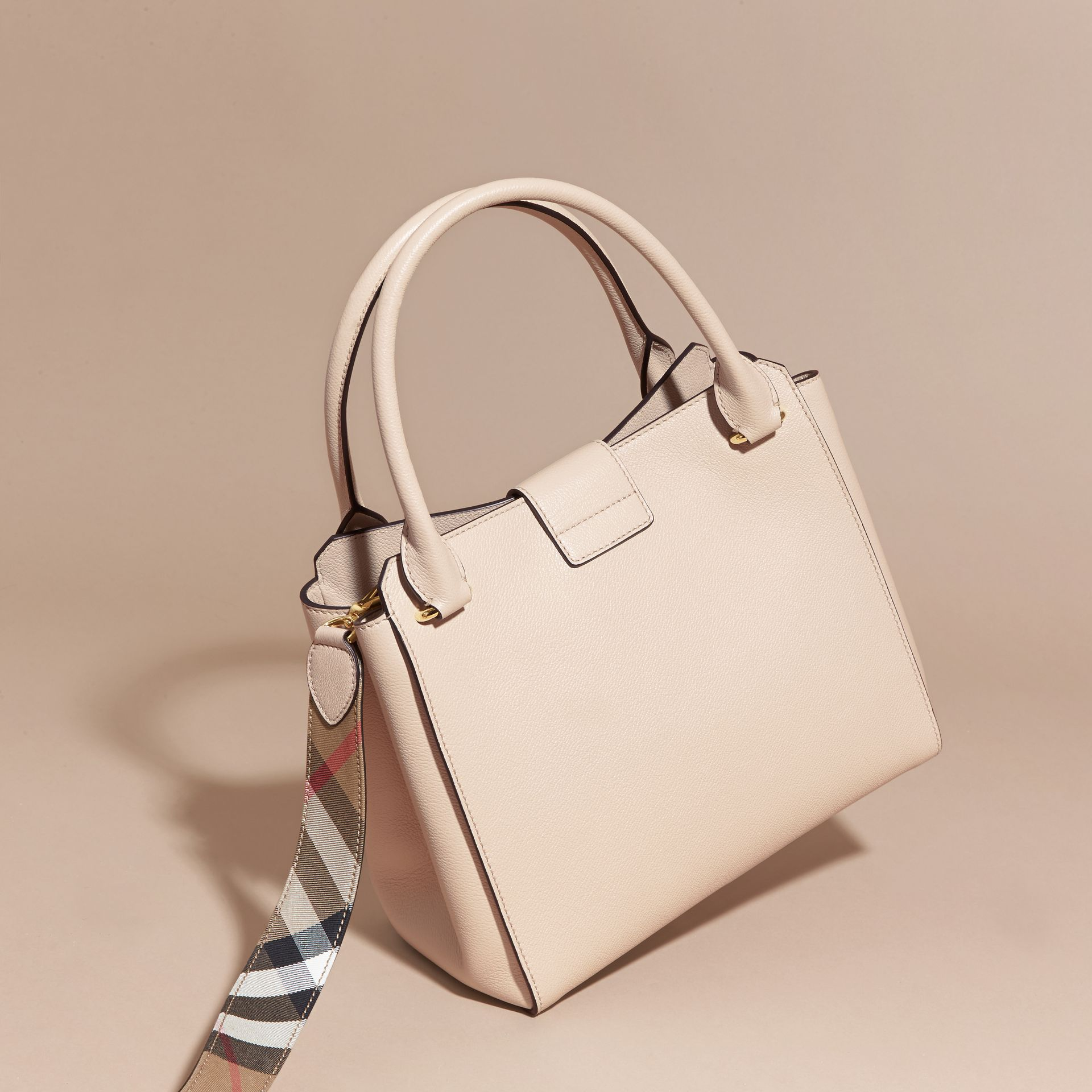 Limestone The Medium Buckle Tote in Grainy Leather Limestone - gallery image 5