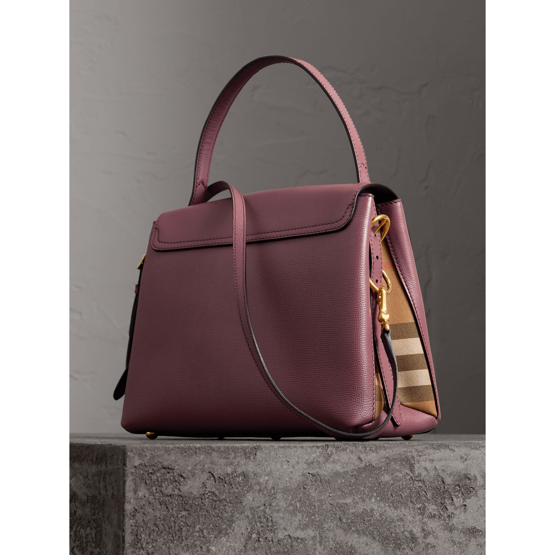 Medium Grainy Leather and House Check Tote Bag in Mahogany Red - Women | Burberry Australia - gallery image 4