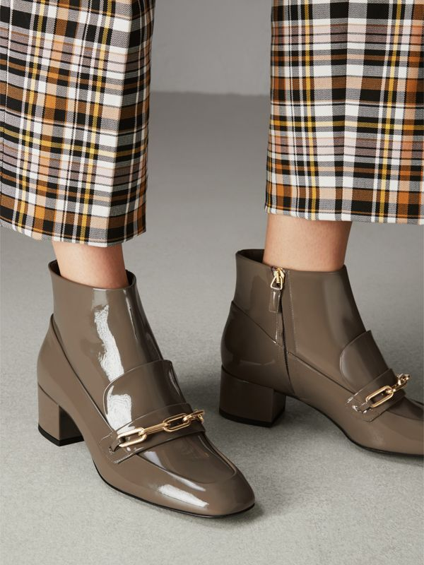 Link Detail Patent Leather Ankle Boots in Taupe Grey - Women | Burberry Canada - cell image 2
