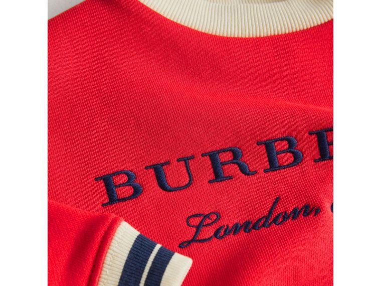 Contrast Stripe Embroidered Cotton Sweatshirt in Bright Orange Red | Burberry - cell image 1