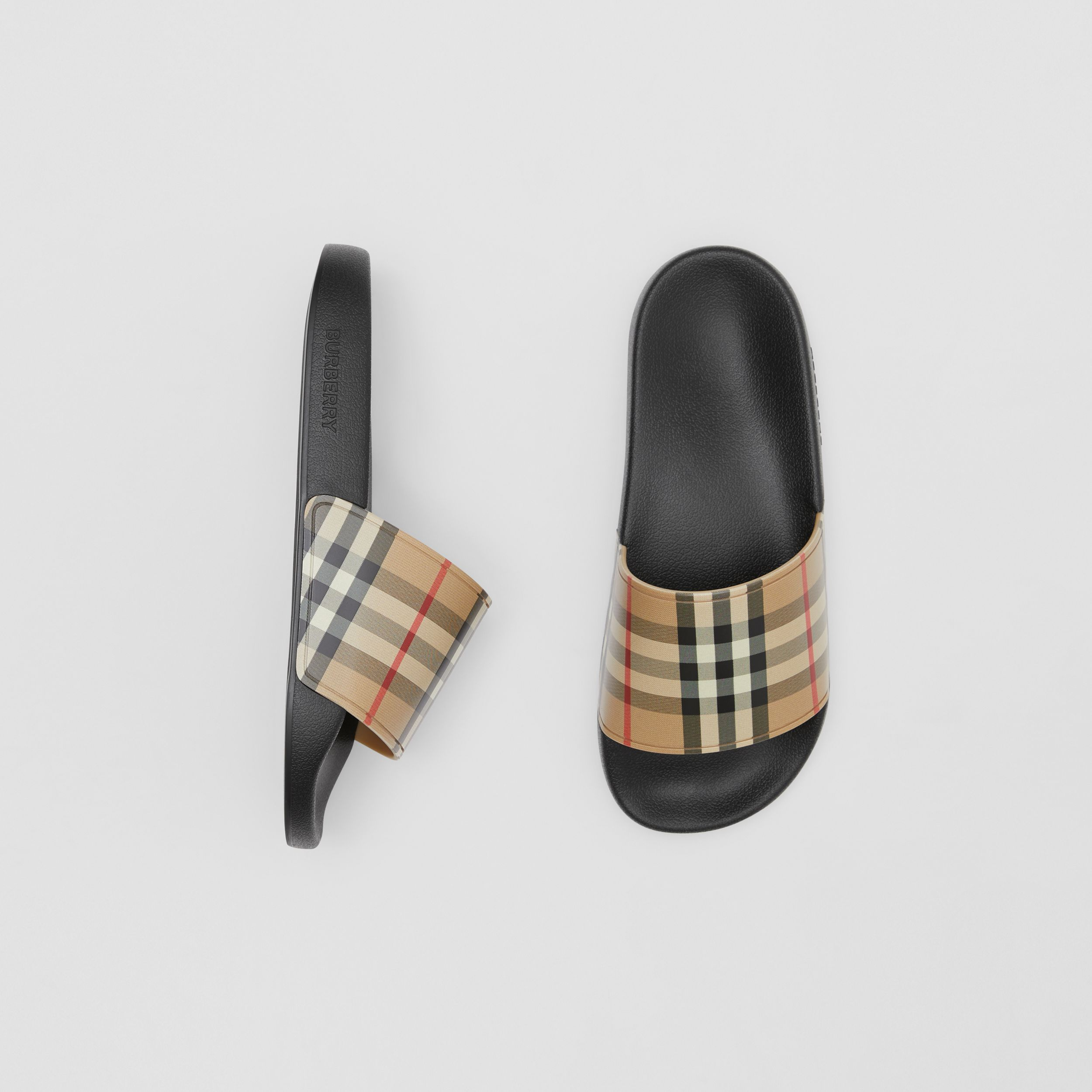 Vintage Check Slides in Archive Beige - Women | Burberry Hong Kong S.A.R. - 1