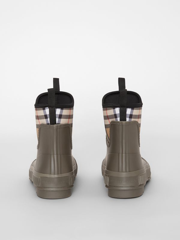 Vintage Check Neoprene and Rubber Rain Boots in Military Green - Women | Burberry - cell image 3