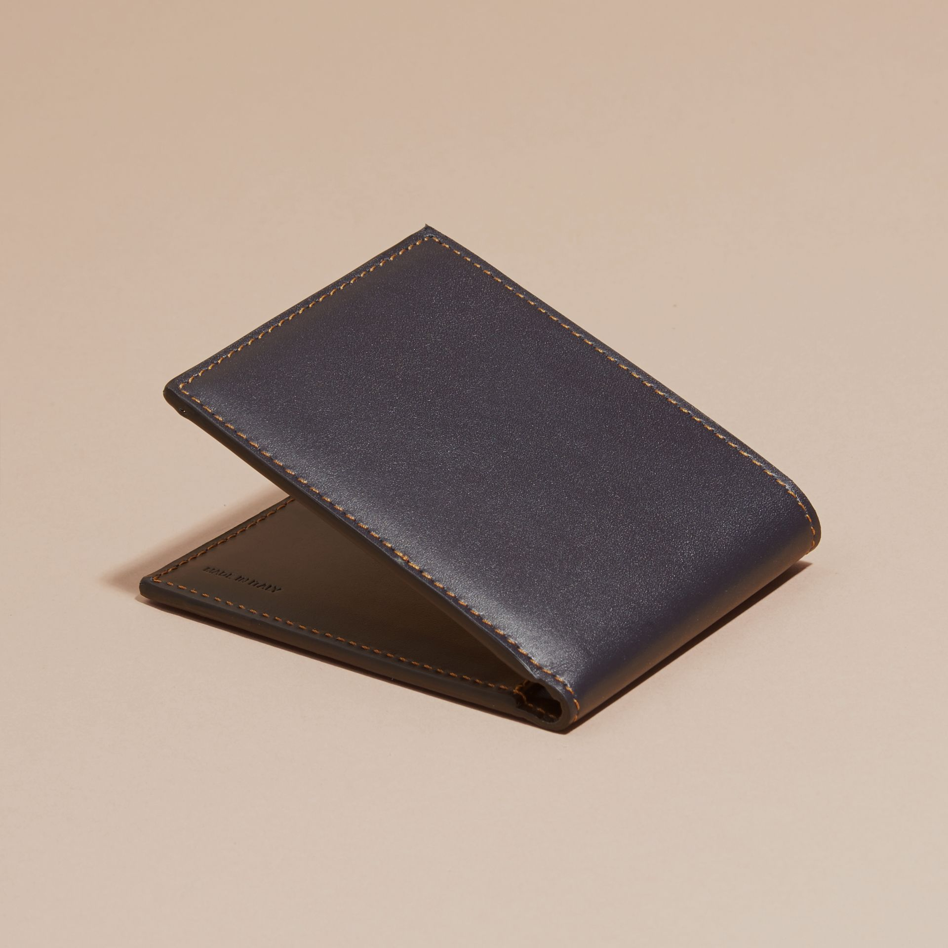 Dark navy Smooth Leather Folding Wallet with Printed Lining Dark Navy - gallery image 4