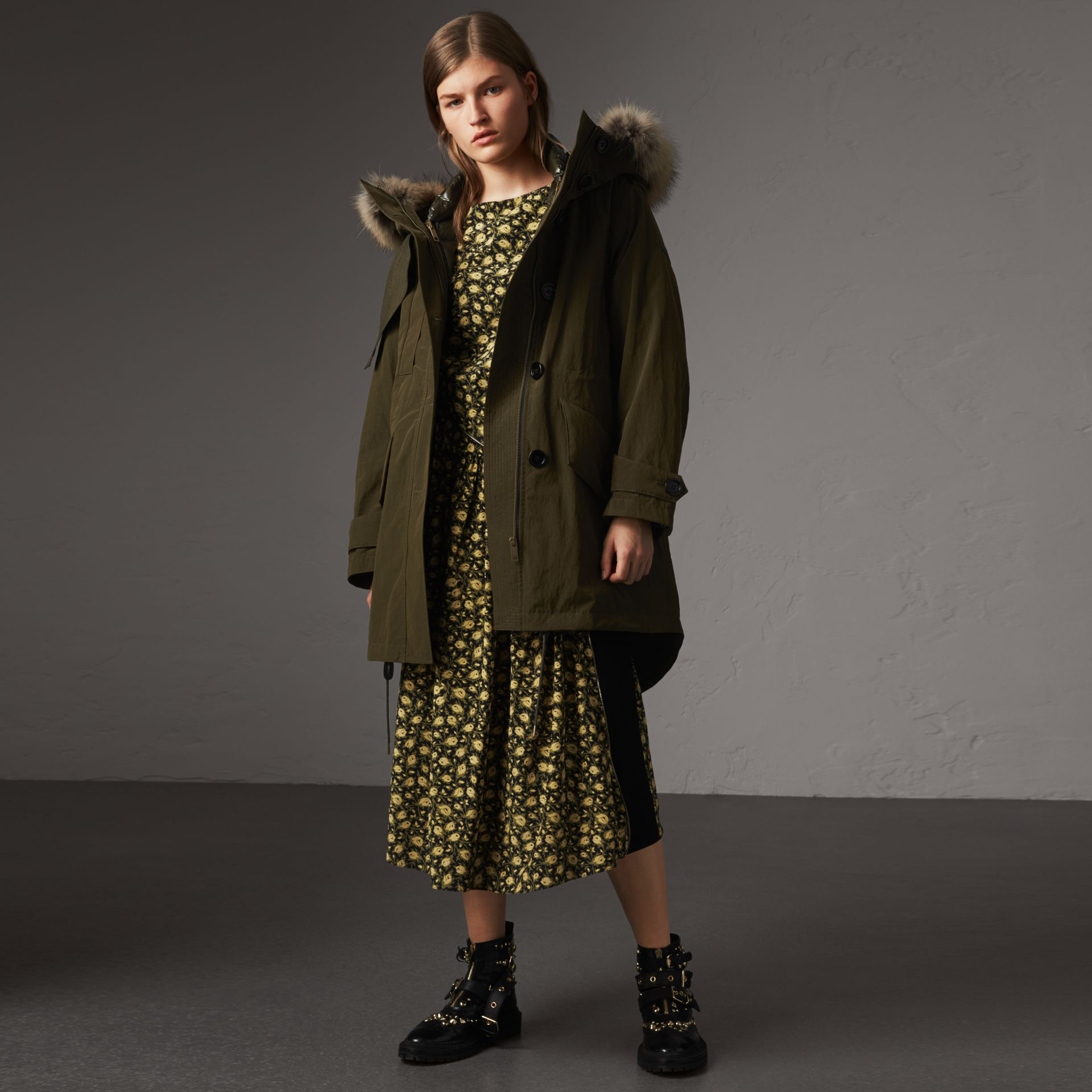 Raccoon Fur and Shearling Trim Parka with Warmer in Dark Olive - Women | Burberry - gallery image 0