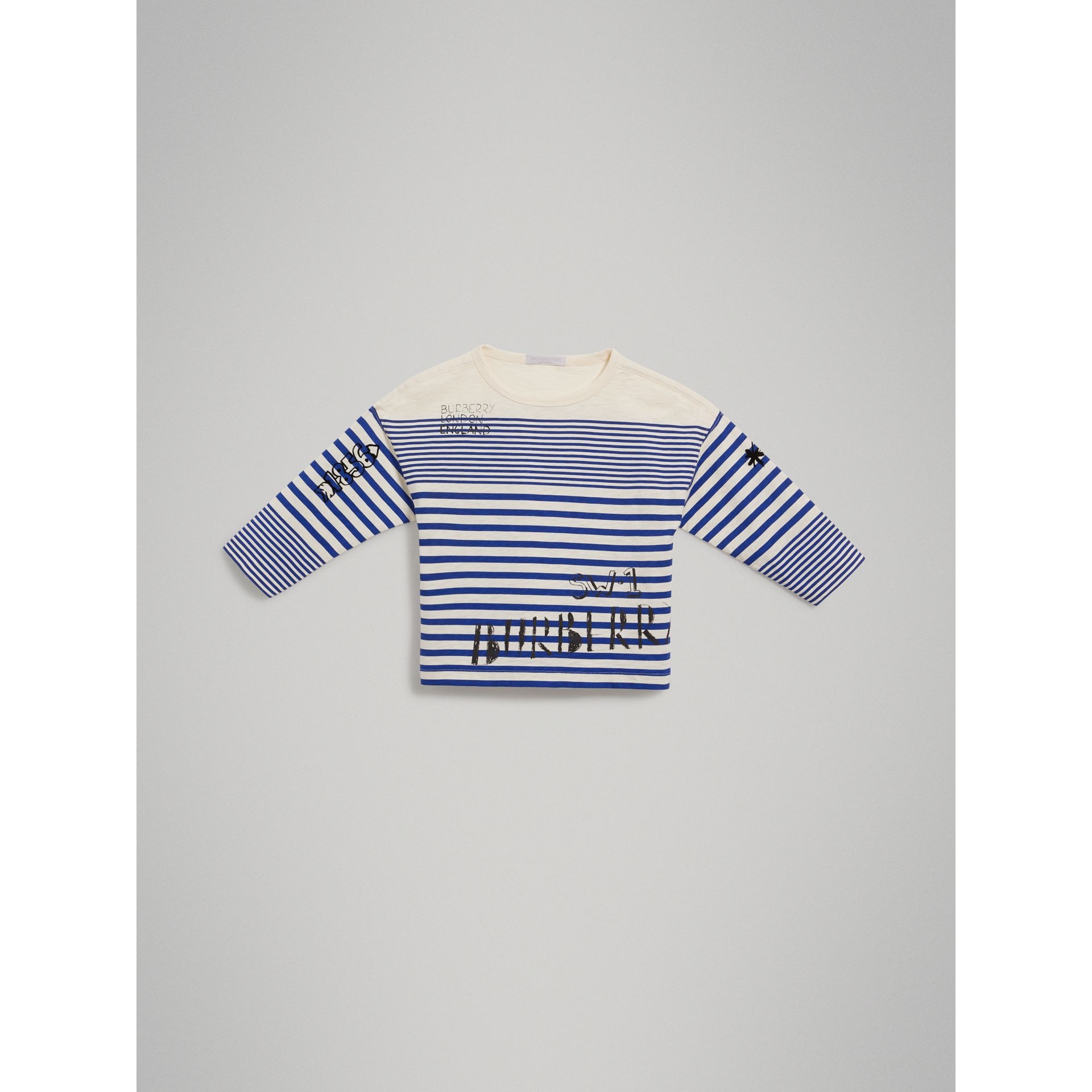 SW1 Print Striped Cotton Top in Bright Lapis/natural White - Boy | Burberry United States - gallery image 2