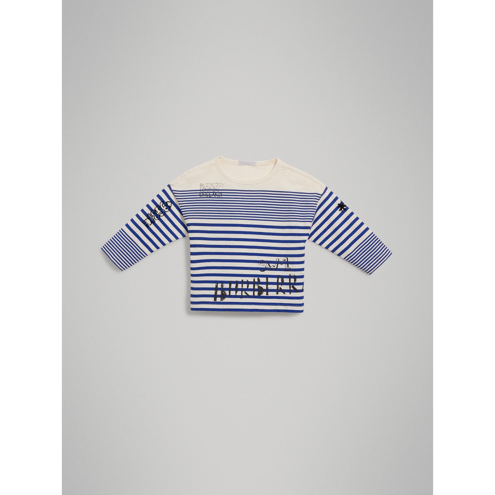 Haut en coton rayé avec imprimé SW1 (Lapis Vif/blanc Naturel) - Garçon | Burberry - photo de la galerie 2
