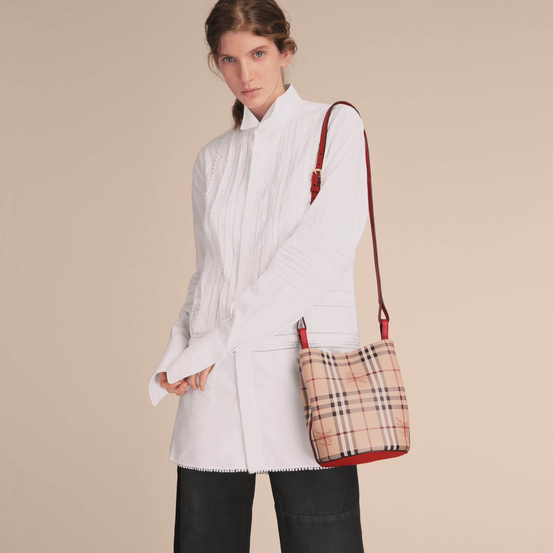 Leather and Haymarket Check Crossbody Bucket Bag in Poppy Red - Women | Burberry United Kingdom - gallery image 3