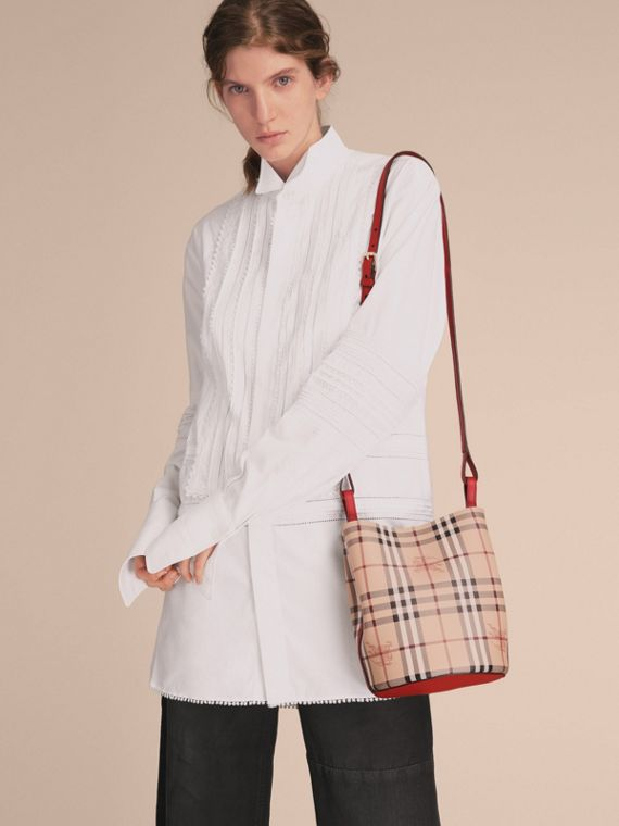 Leather and Haymarket Check Crossbody Bucket Bag in Poppy Red - Women | Burberry United Kingdom - cell image 2