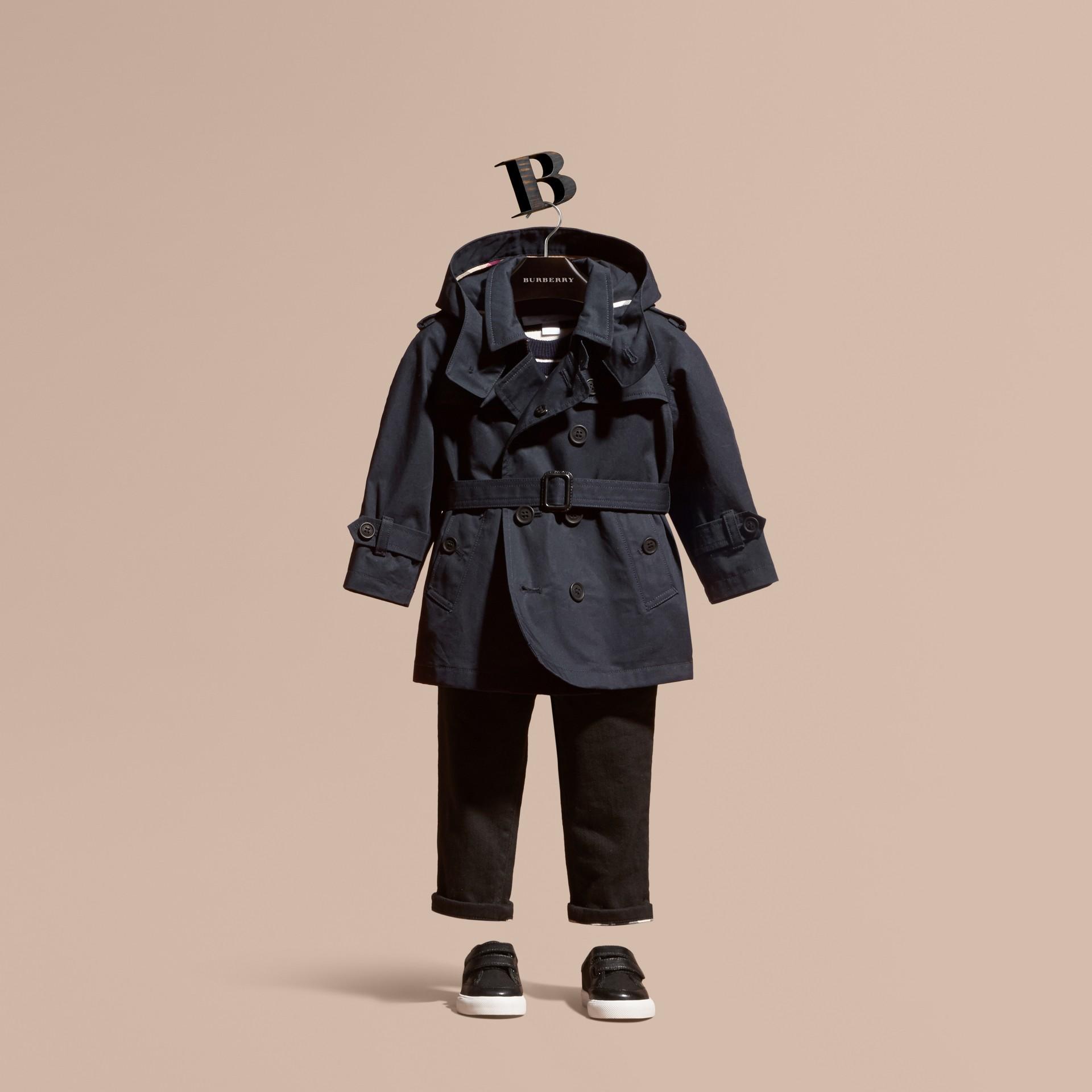 Encre Trench-coat à capuche en sergé de coton - photo de la galerie 1