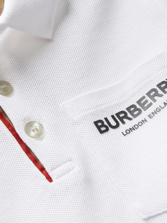 Icon Stripe Placket Cotton Piqué Polo Shirt in White | Burberry - cell image 1