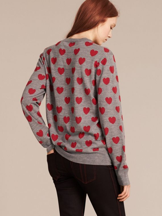 Heart Intarsia Merino Wool Sweater in Mid Grey Melange - cell image 2