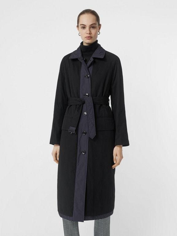 Reversible Contrast Sleeve Quilted Cotton Car Coat in Navy - Women | Burberry United Kingdom - cell image 1