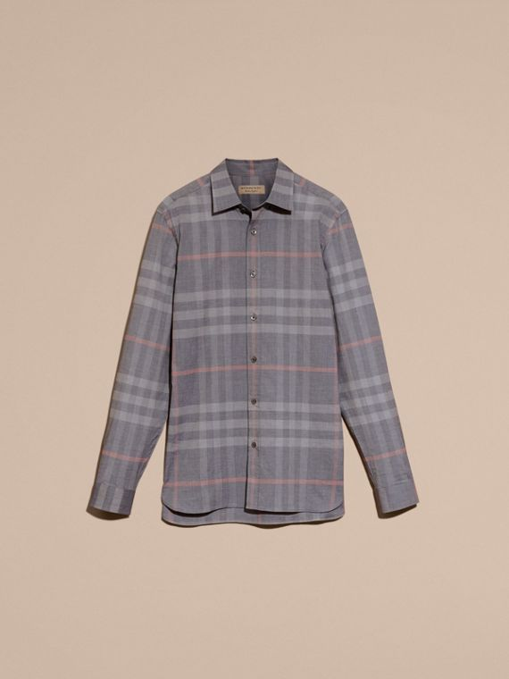 Check Cotton Oxford Shirt Dark Charcoal - cell image 3