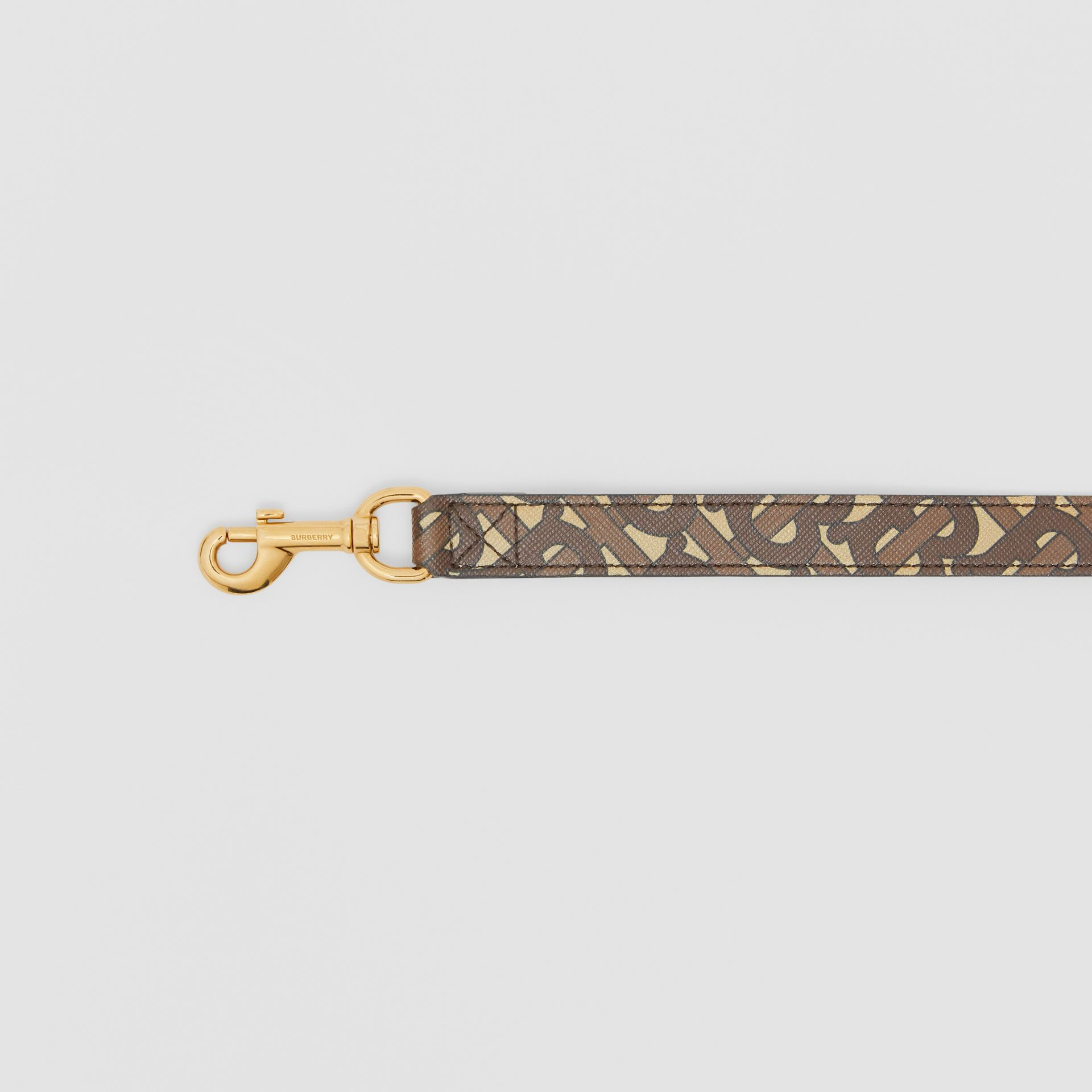 Monogram Print E-canvas Dog Leash in Bridle Brown | Burberry - gallery image 1