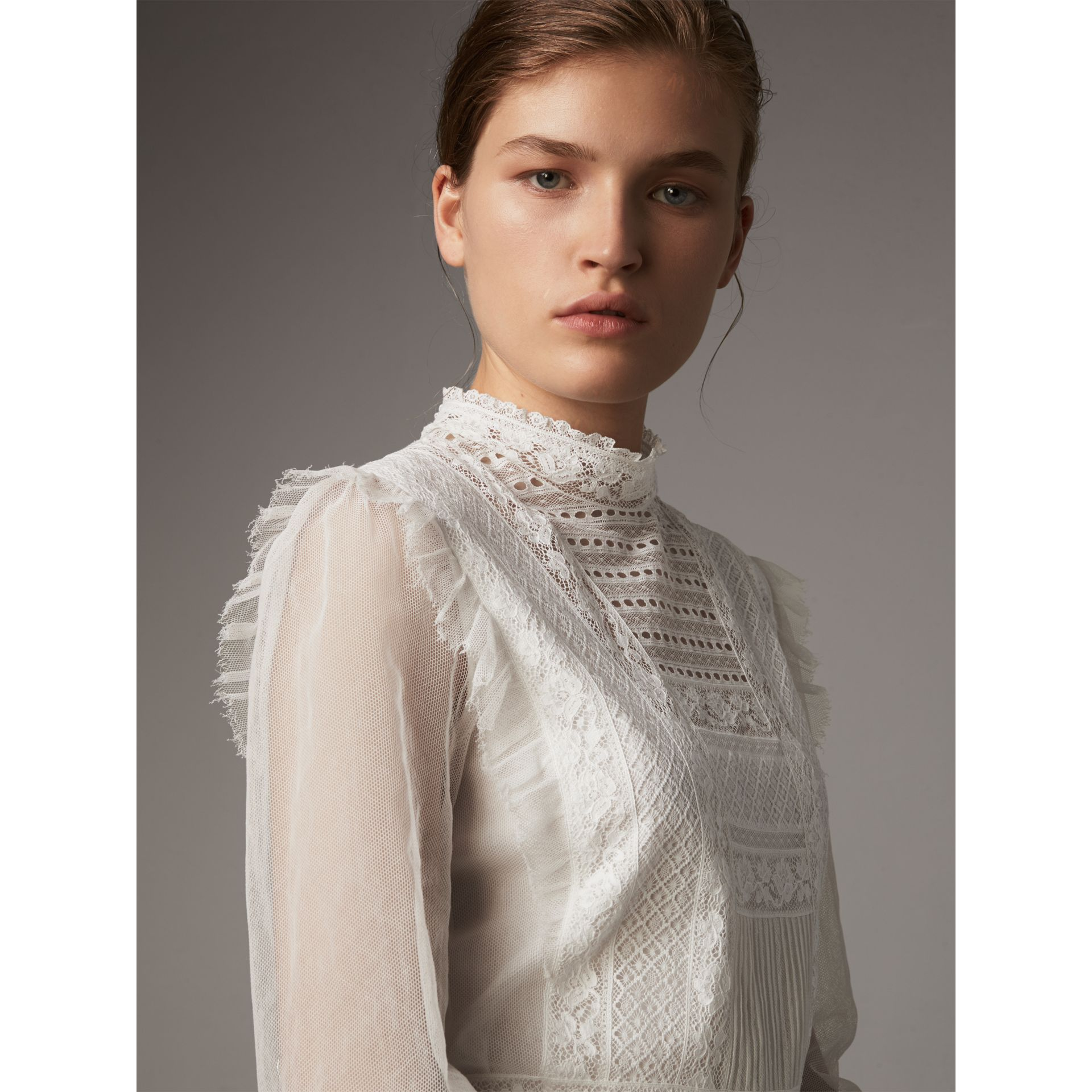 Ruffle Detail Lace Mesh Dress in White - Women | Burberry - gallery image 2