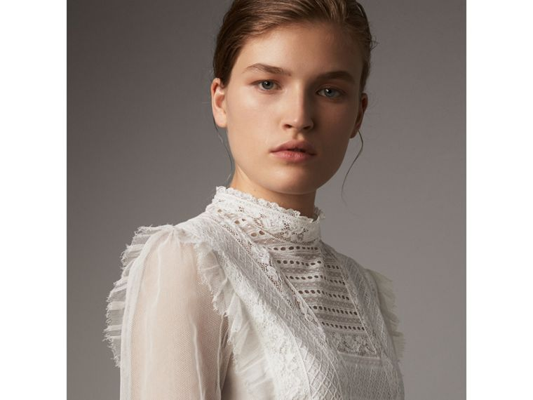 Ruffle Detail Lace Mesh Dress in White - Women | Burberry - cell image 1
