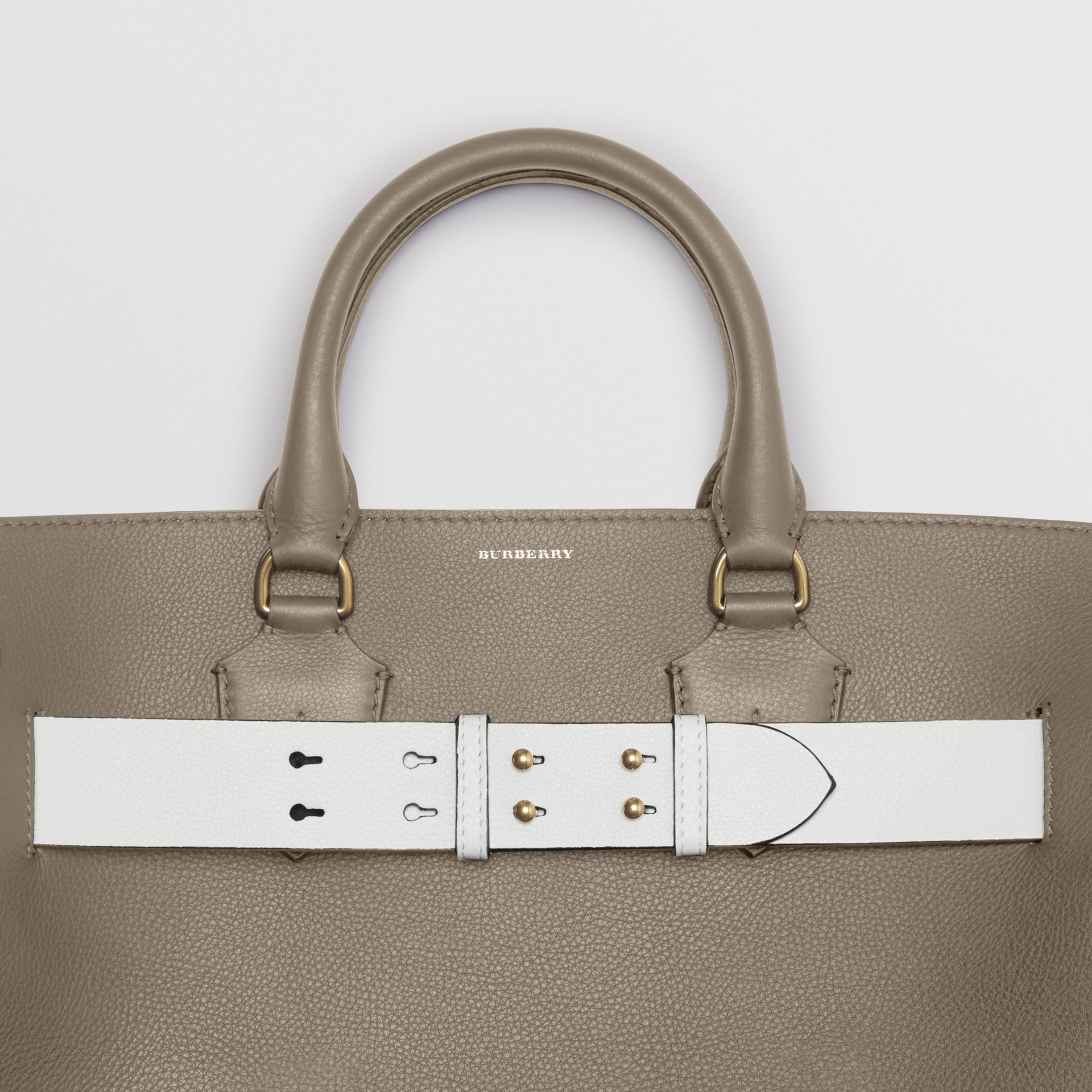 The Large Leather Belt Bag in Mineral Grey | Burberry - gallery image 1