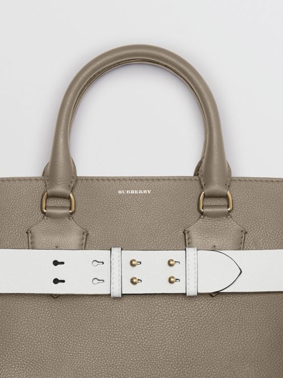 The Large Leather Belt Bag in Mineral Grey | Burberry Australia - cell image 1