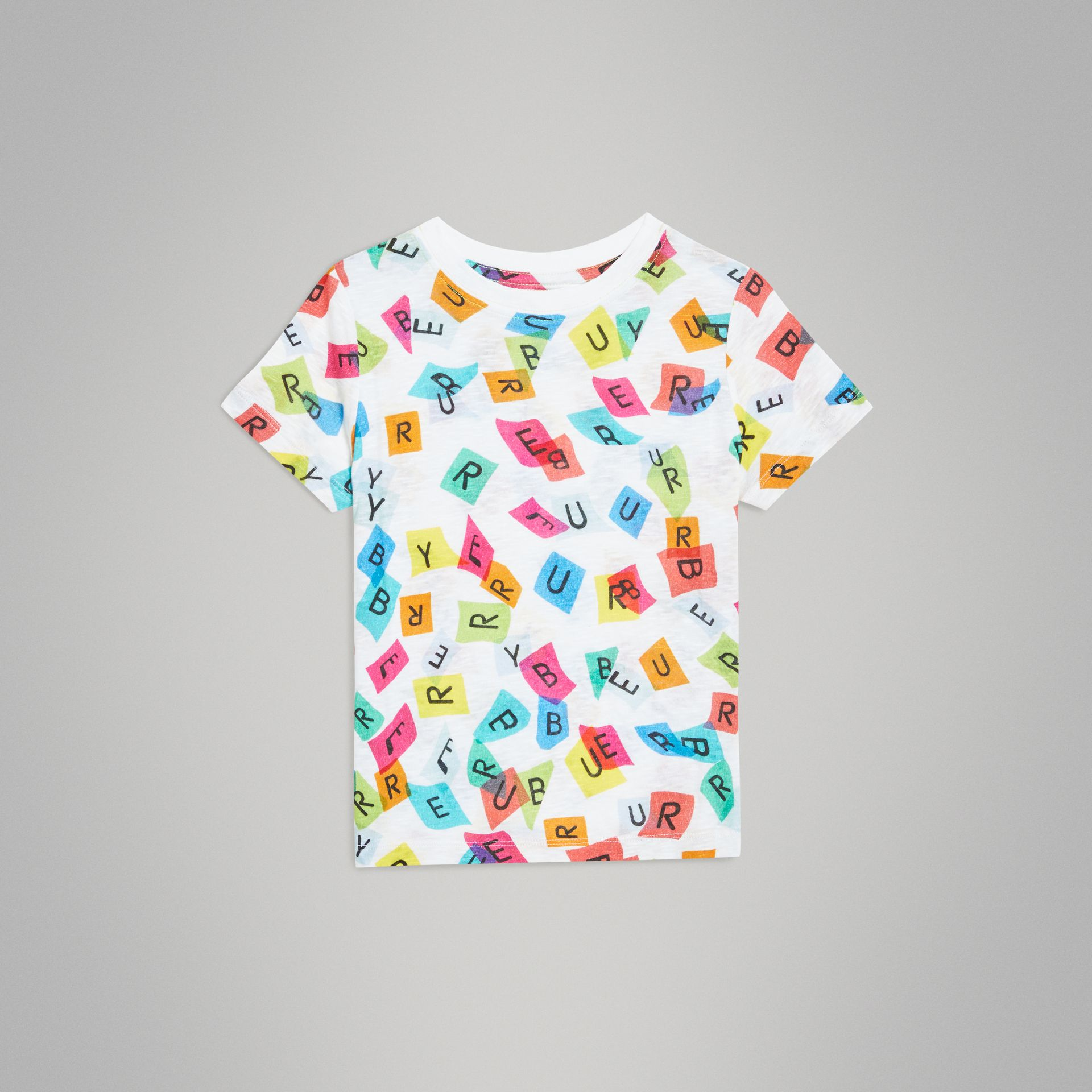 Confetti Letter Print Jersey T-shirt in White - Children | Burberry - gallery image 0
