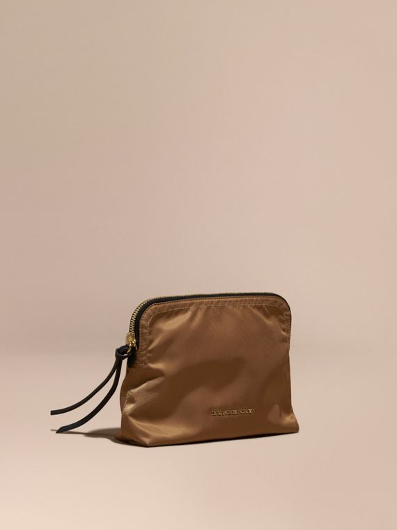 Large Zip-top Technical Nylon Pouch in Light Flax