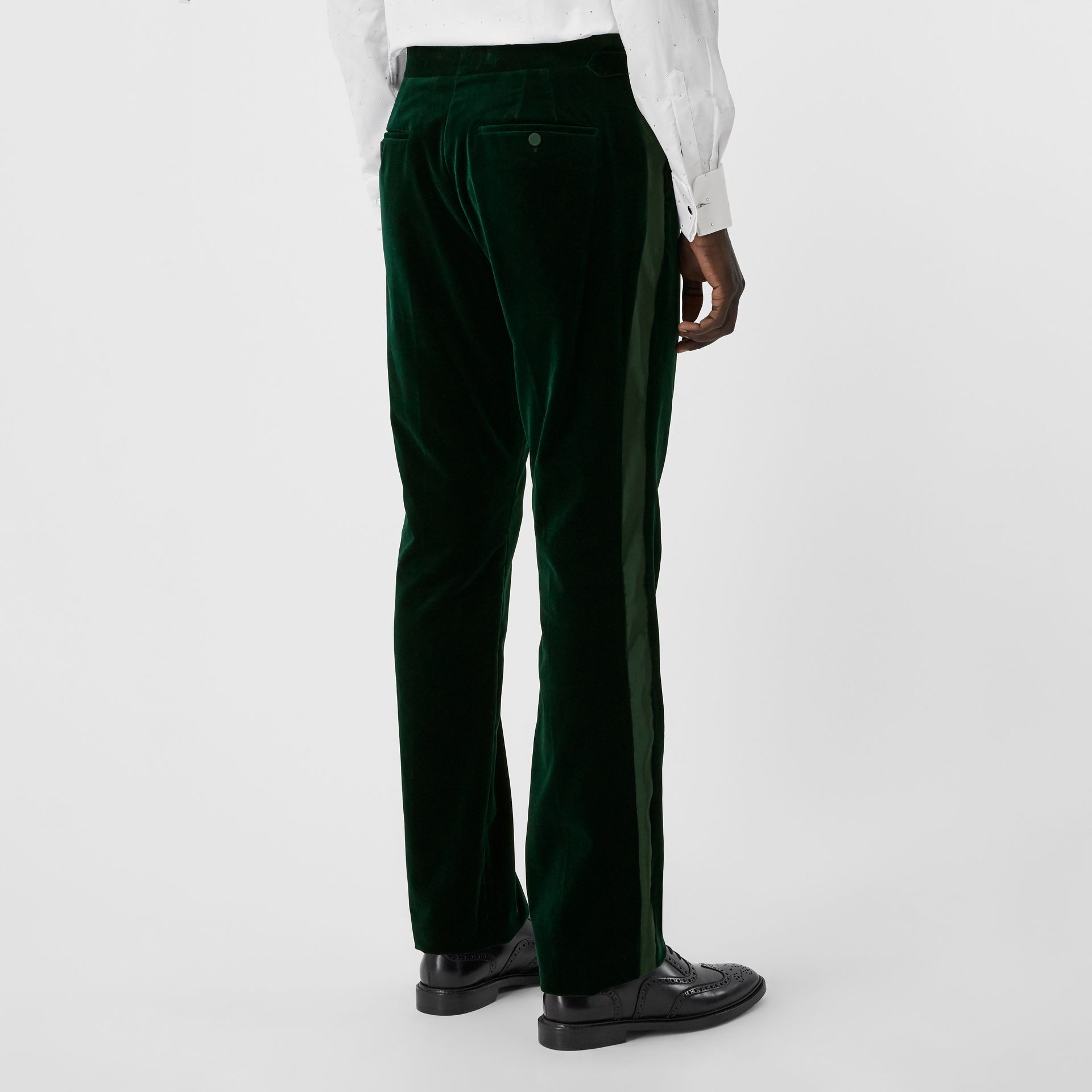 Classic Fit Silk Trim Velvet Tailored Trousers in Dark Pine Green - Men | Burberry - gallery image 2