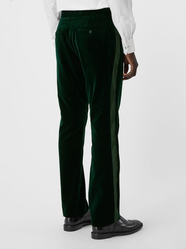 Classic Fit Silk Trim Velvet Tailored Trousers in Dark Pine Green - Men | Burberry - cell image 2