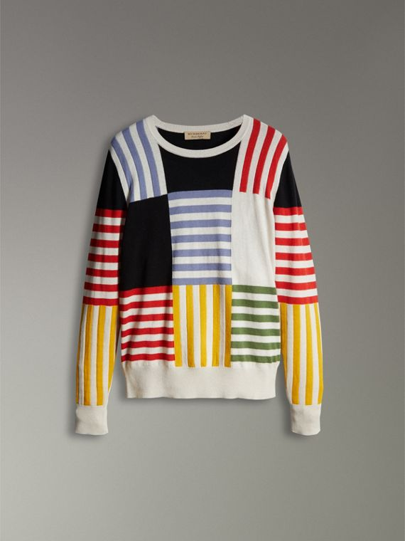 Striped Intarsia Cashmere Cotton Sweater in Natural White - Men | Burberry - cell image 3