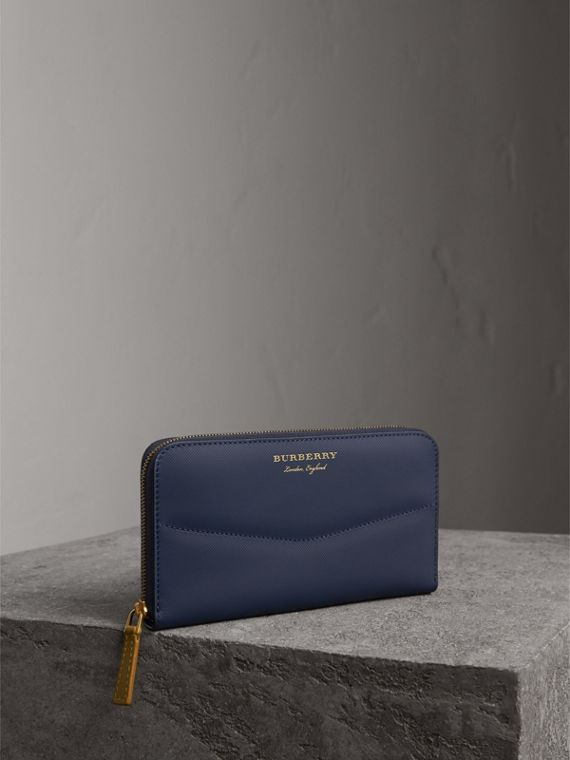 Two-tone Trench Leather Ziparound Wallet in Ink Blue/ochre Yellow - Women | Burberry Singapore