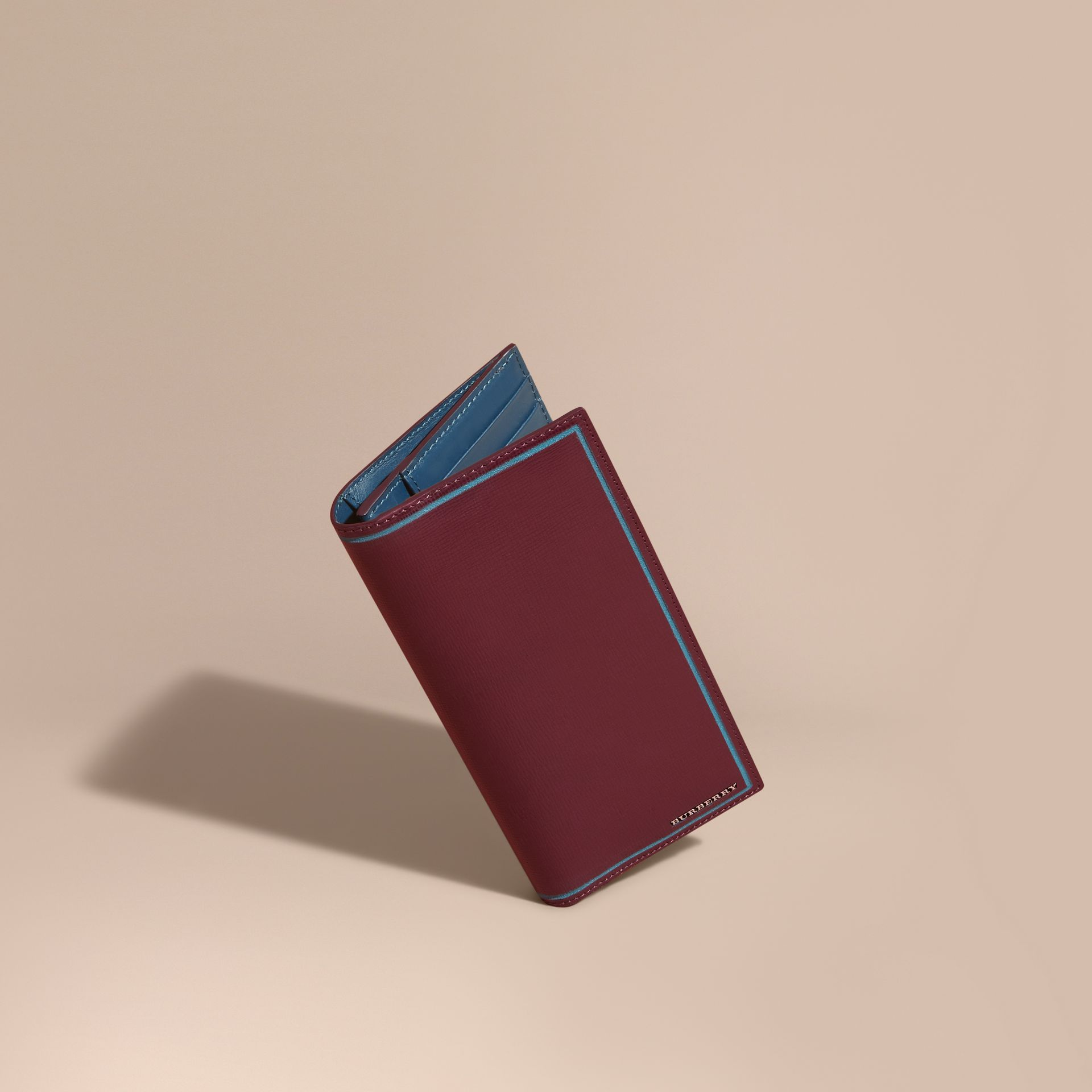 Border Detail London Leather Continental Wallet in Burgundy Red - gallery image 1