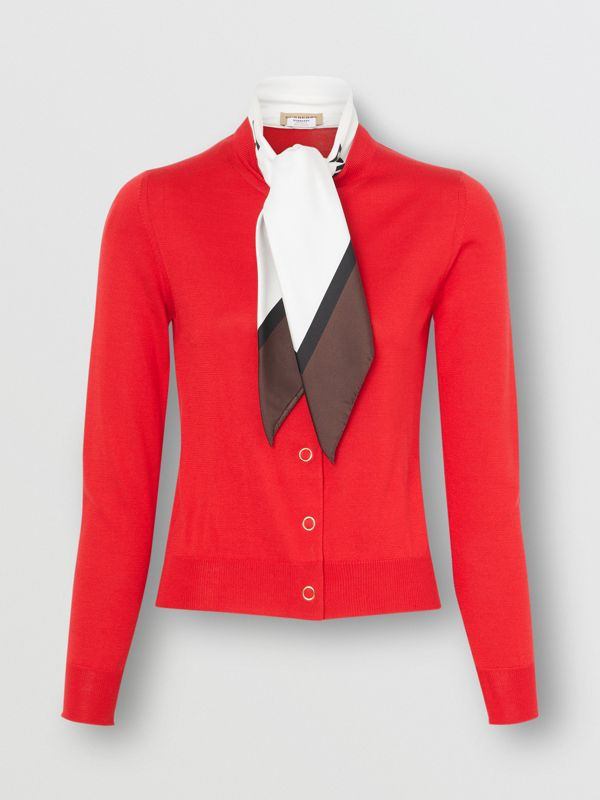 Scarf Detail Silk Cardigan in Bright Red - Women | Burberry - cell image 3