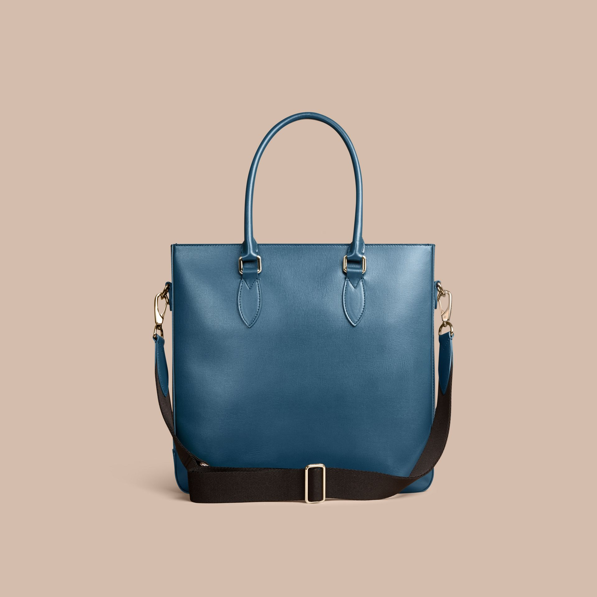 London Leather Tote Bag in Mineral Blue - Men | Burberry - gallery image 4